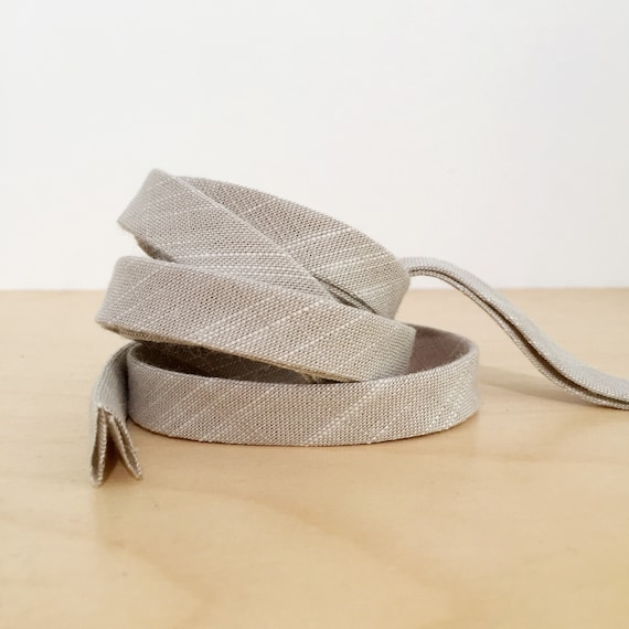 "Bias Tape- Kaufman Manchester Yarn-Dyed Taupe Chambray 1/2"" Double-fold Cotton binding- Concrete gray- 3 yard roll"