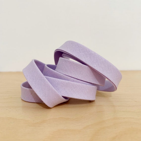 "Bias Tape- Cotton Supreme Solids Verbena 1/2"" double-fold cotton binding- light lavender purple- 3 yard roll"