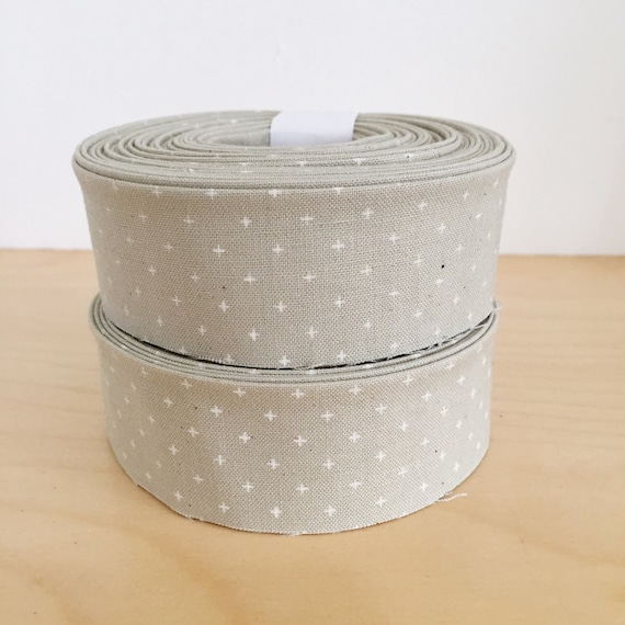 "Quilt Binding- Cotton + Steel Add it Up Rainy Day 1.25"" double-fold cotton quilt binding- Gray"