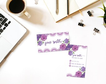 Watercolor Flowers-Lace Custom Printable Business Card- Business Card DIY Digital Download- Personalized Business Card- Modern Business Card