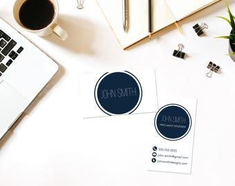 Circle Custom Printable Business Card- Business Card DIY Digital Download- Personalized Business Card- Modern Business Card