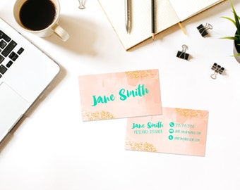 Custom Printable Business Card- Business Card DIY Digital Download- Watercolor Confetti Glitter Gold- Personalized Business Card- Modern