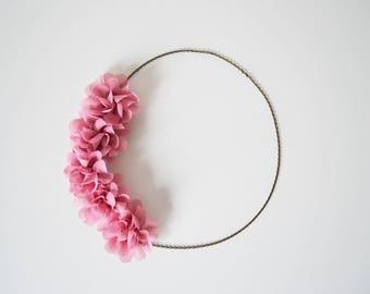 Bijou de tête mariage champêtre, headband fleurs rose vintage, serre tête  mariage, accessoire cheveux fleurs rose, mariage bohème chic fe21e240282