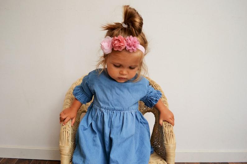 048bc0c82eadc Headband enfant mariage bohème champêtre fleurs rose headband   Etsy