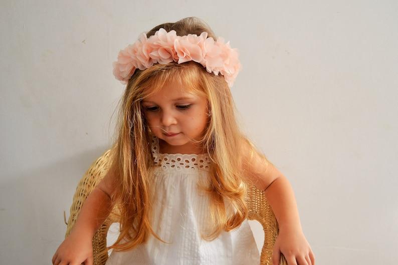 Flower Crown with coral hair light baby girl wedding wedding hair accessory bridesmaid Caterpillar