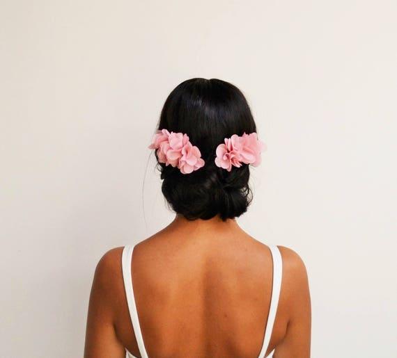 Peignes A Cheveux Mariage Boheme Fleurs Rose Poudre Etsy