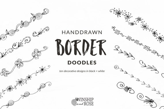 Floral borders clip art hand drawn flower borders set etsy image 0 mightylinksfo