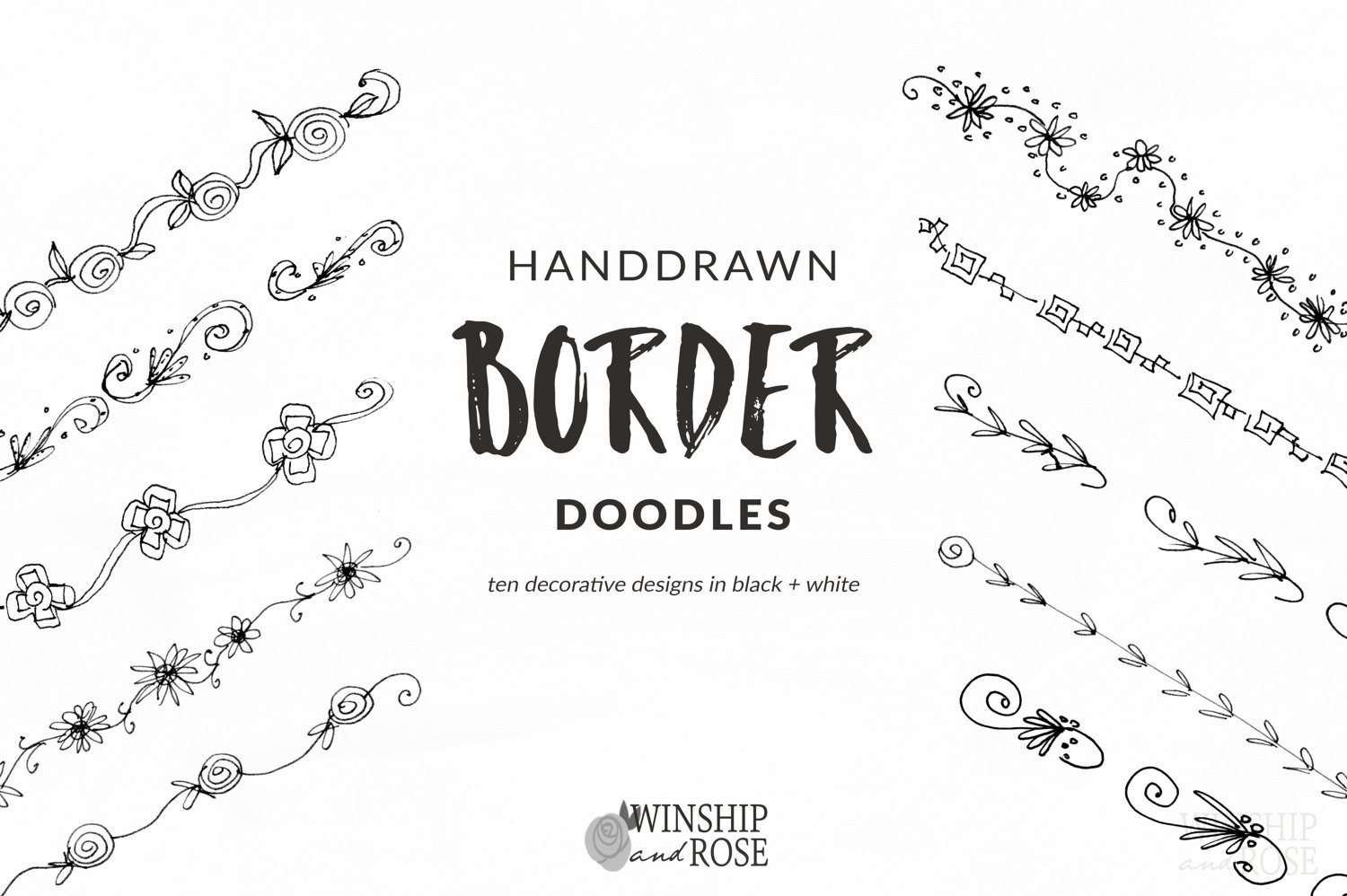 Floral Borders Clip Art Hand Drawn Flower Borders Set Etsy