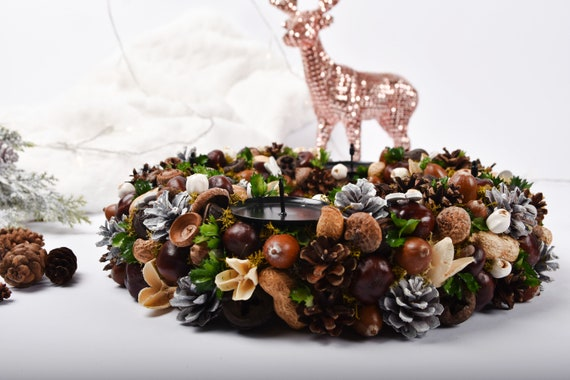 Advent Wreath Christmas Wreath Advent Candle Natural Wreath Rustic Adventskranz Xmas Decoration Christmas Candle Ring Nuts Wreath