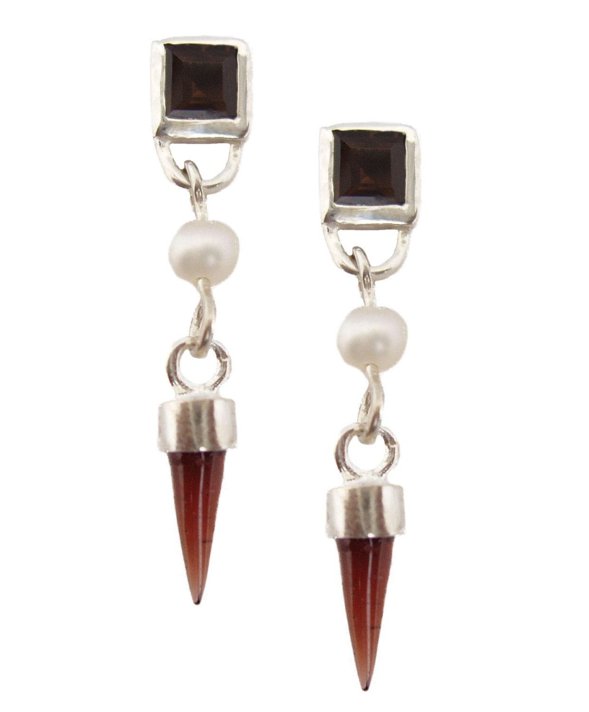 5mm Quartz fumé carré, 3 mm perle ronde & & ronde 4x12mm Bulletl grenat boucle d'oreille énergie Pierre bijoux conçus par Viola donc (sku # SS-E2) a15d9b