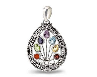 """Energy Stone """"STILL POINT""""  Seven Chakra High Polish Sterling Silver Pendant with Stainless Steel Chain (Style# CP05)"""
