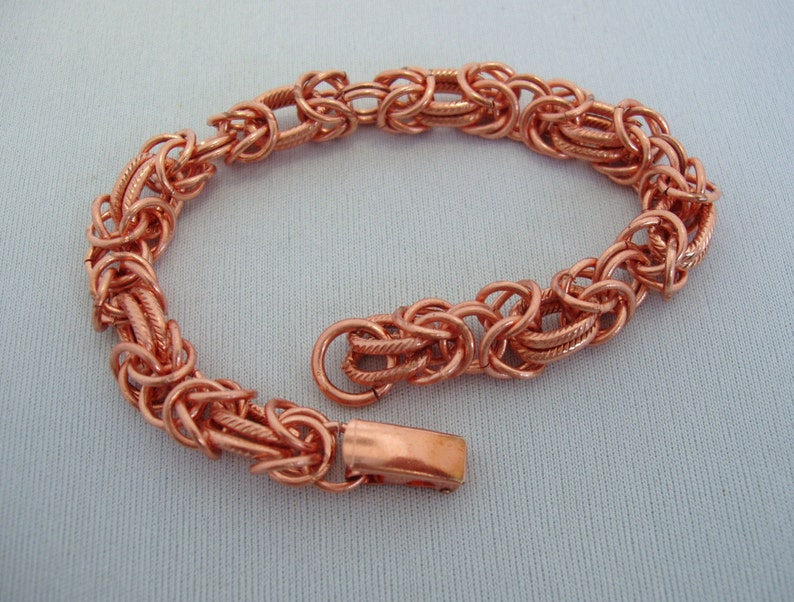 Bright Color Red Copper Chain Maille Mail Charm Bracelet 7 inches 18cm long Secure Clasp sku#66