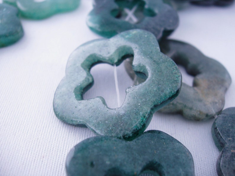 sku#744 A Grade Dark Green Hollow Out 5x34mm Aventurine Flower Good Quality Sold By The Piece Quality Stone by Energy Stone