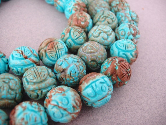 Shou 18mm One Large Vintage Carved Chinese Stabilized Turquoise Bead Round