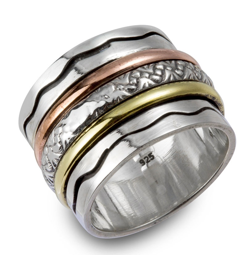 """Energy Stone """"RADIANCE"""" Meditation Spinning Ring Wave Sterling Silver  Patterned Shank with 1 Brass 1 Copper Spinners (Style# USA10)"""
