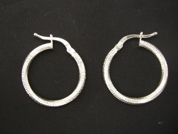 Hand Etching Design Stamped Sterling Vintage Sterling Silver Polished Hoop Earring