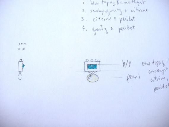 6 x x 6 8 bleu topaze lunette sertie de 5 x 8 bouton frais l'eau perle boucles d'oreilles Design en argent Sterling par Viola donc (sku SS-E16-BT) c610ac