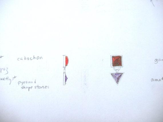 7mm carré Citrine Citrine carré & 9 mm modèle de boucle d'oreille péridot triangulaire par Viola donc Designers résultats (sku SS-E5) e0e4ab