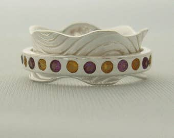SELF CONNECTION - Pretty Amethyst and Citrine High Polish Meditation Spinner Ring by Energy Stone (Style# US25)