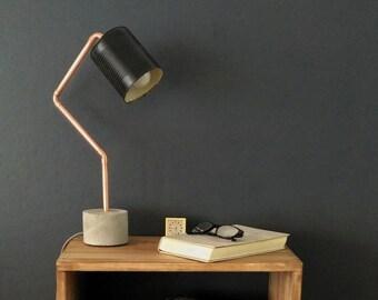 Industriële betonnen koper vloerlamp staande lamp edison etsy