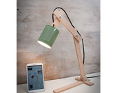 Green Table lamps, lamps, lighting, desk lamps, wood desk lamp, lights, desk lamp, wood lamp, recycled cans, recycle can, lamp, Green Earth