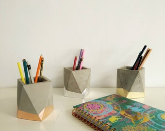 Beau Gold Copper Silver Concrete Pencil Holder, Concrete Office Decor, Modern  Office Desk, Office Desk Accessories, Pen Holder For Desk