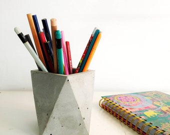 Concrete Pencil Holder, Concrete Office Decor, Modern Office Desk, Office  Desk Accessories, Office Organization, Pen Holder For Desk