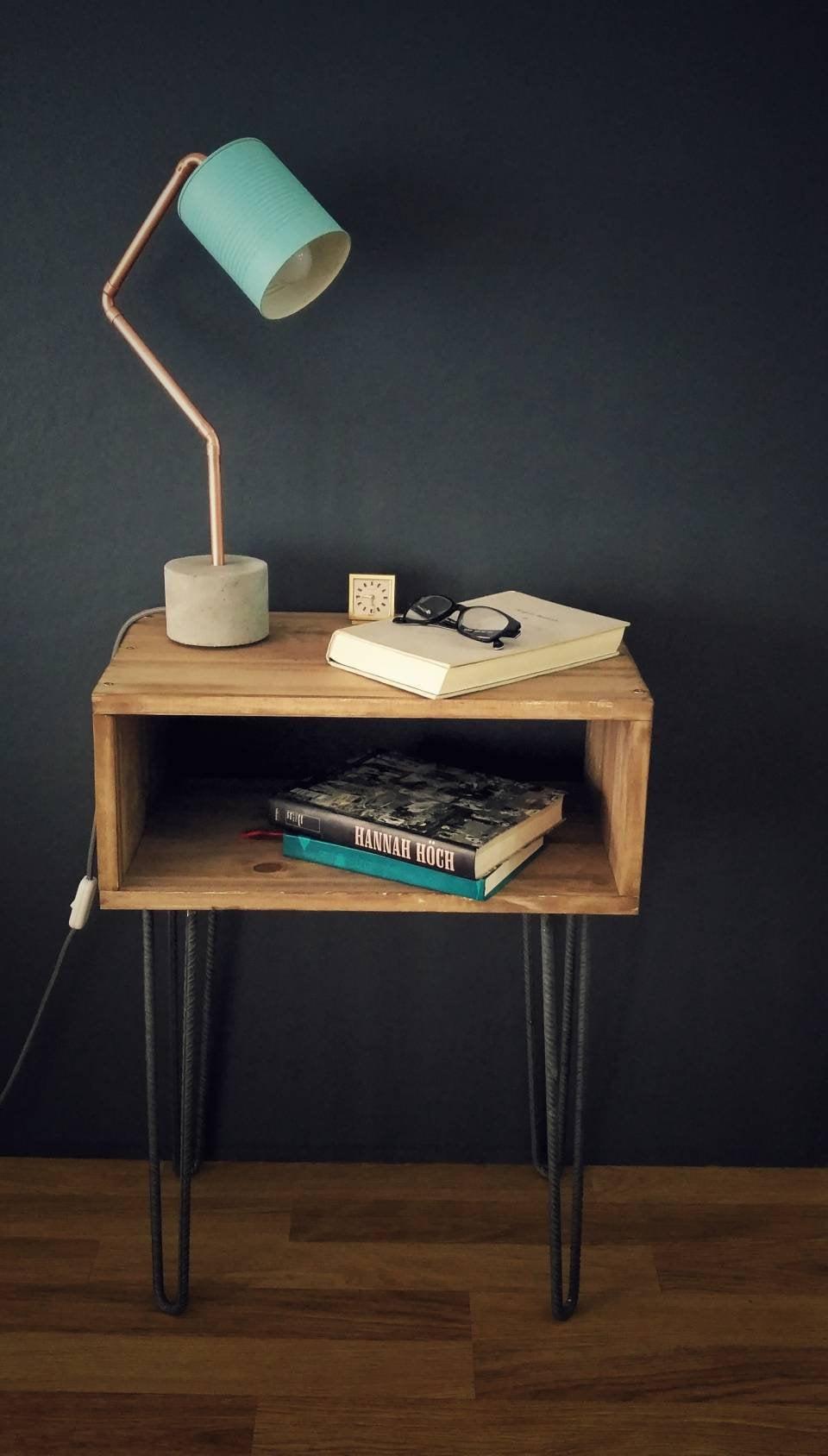 industriel lampe de chevet lampe de bureau bleu b ton. Black Bedroom Furniture Sets. Home Design Ideas