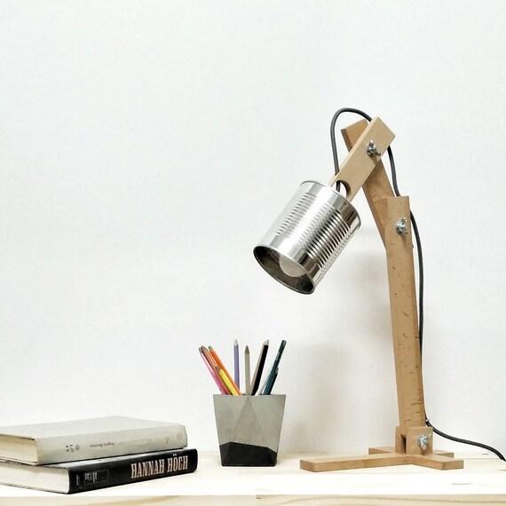 Lampe De Bureau Argent Argent Abat Jour Lampe Originale Etsy
