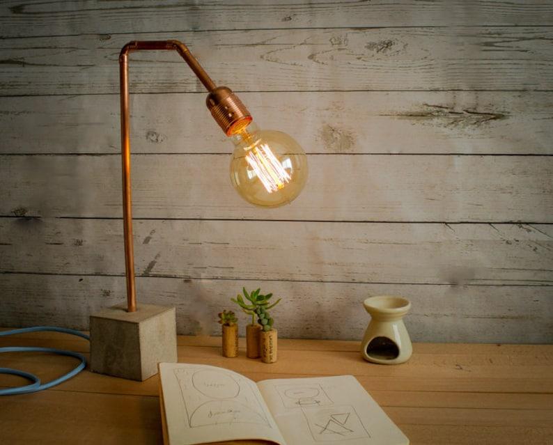 Industrielle beton kupfer tischleuchte industrielle lampe etsy