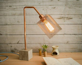 "Industrial concrete copper table lamp, Industrial lamp, Table lamps, Copper lamp, Edison lamp, Concrete light, Table lamp, Model ""Lamp CC01"""