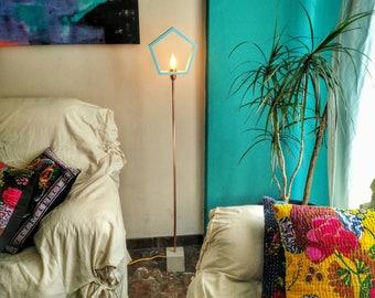 Contemporary floor lamp blue wood concrete Geometric lamp Modern floor lamp Floor light Floor lamps Copper lamp Contemporary lamp FLCCMA
