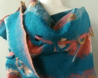 felt scarf, handgevilte shawl, bohemian pashmina, shabby chic stole, pashmina, woolscarf, mother's day, wrap cloth wool, boho shawl