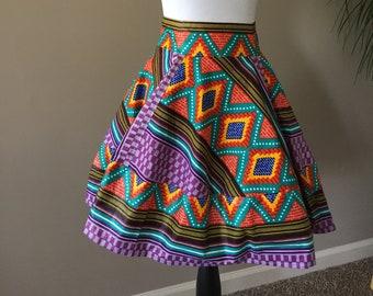 Vibrant Kente Long Skater Skirt