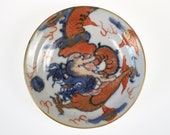 Antique 18th century Chinese blue and white and iron-red small porcelain dragon dish
