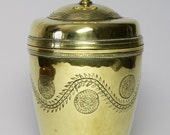 Artificers Guild Arts and Crafts brass tea caddy designed by Edward Spencer.