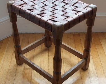 Sid Pollard Arts and Crafts oak and leather stool c. 1930