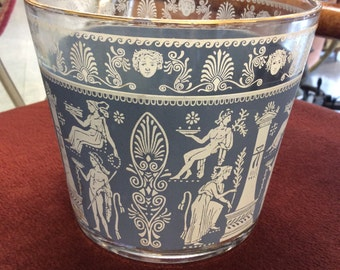 Vintage Wedgewood Style Blue Ice Bucket and brass Carrier