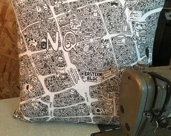 Northern Quarter Doodle Map Cushion