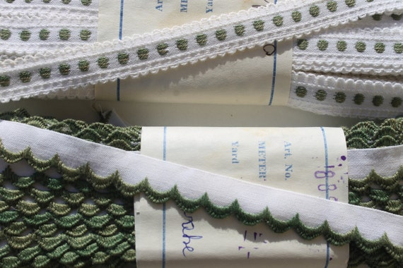 vintage 1960s olive green woven dots and flowers woven picot border on white all cotton lip trims edgings 2 bolts 10 meters each