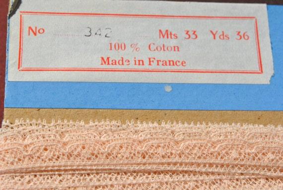 superbe vintage des années 1950 pâle rose valenciennes tout mètres dentelle de coton fabriqué en France de 3 mètres tout 7c1d26