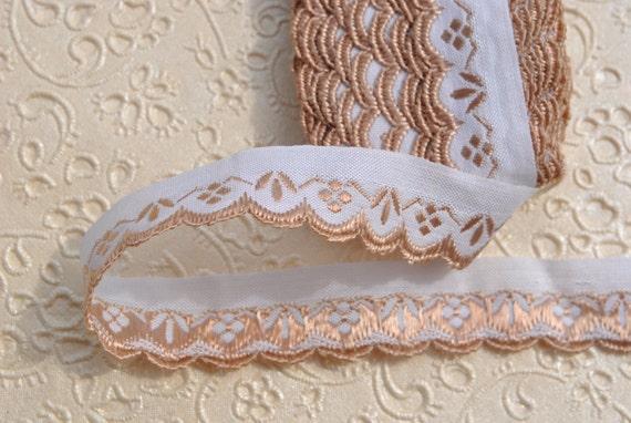 Vintage des années 1960 1960 années 17 mm large soyeux brillant beige art déco picot bordure coton blanc rayonne garniture bordure 10 mètres boulon 90fcb3