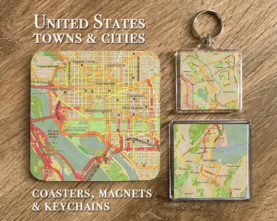 United States Map Magnets.Usa Vintage Map Coasters Magnets And Keychains Usa Gifts Etsy