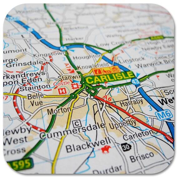 Carlisle Map Coasters | Etsy