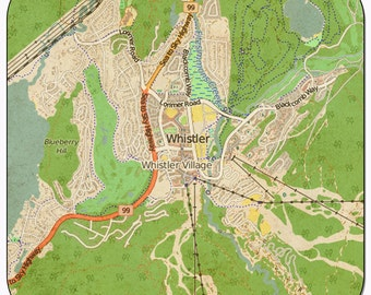 Whistler Vintage Map Coasters