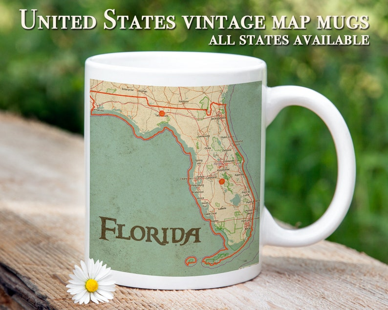 USA Vintage Map Mugs Gifts For Her Him