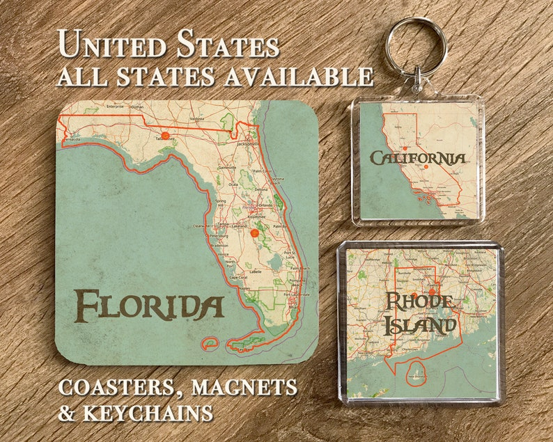 USA Vintage Map Coasters Magnets And Keychains Gifts For Her Him Birthday Christmas