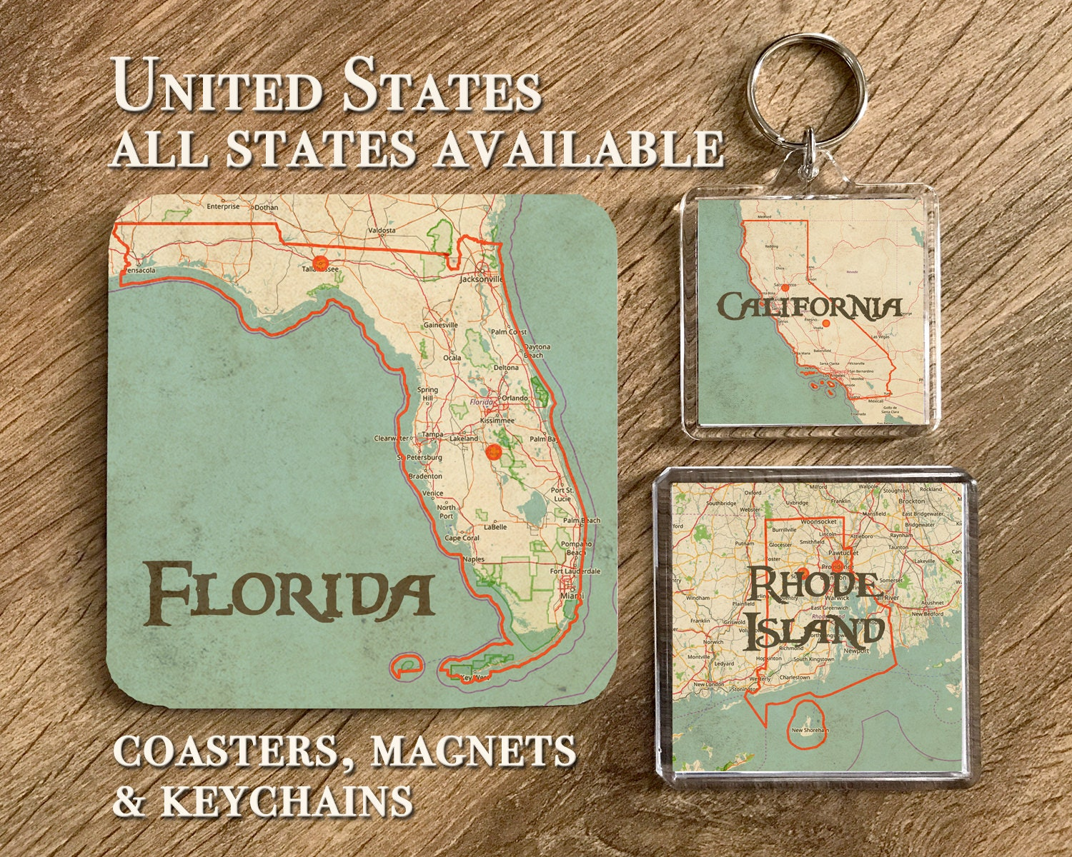 USA Vintage Map Coasters Magnets And Keychains Gifts
