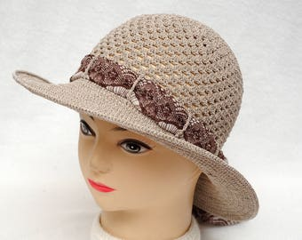 Crochet Hat Womens clothing Brown Hat Holiday gift Womens Sun hat Women  Accessories Wide Brim Hat Womens Hats Beach Hat Summer gift idea fd19070cb8bd