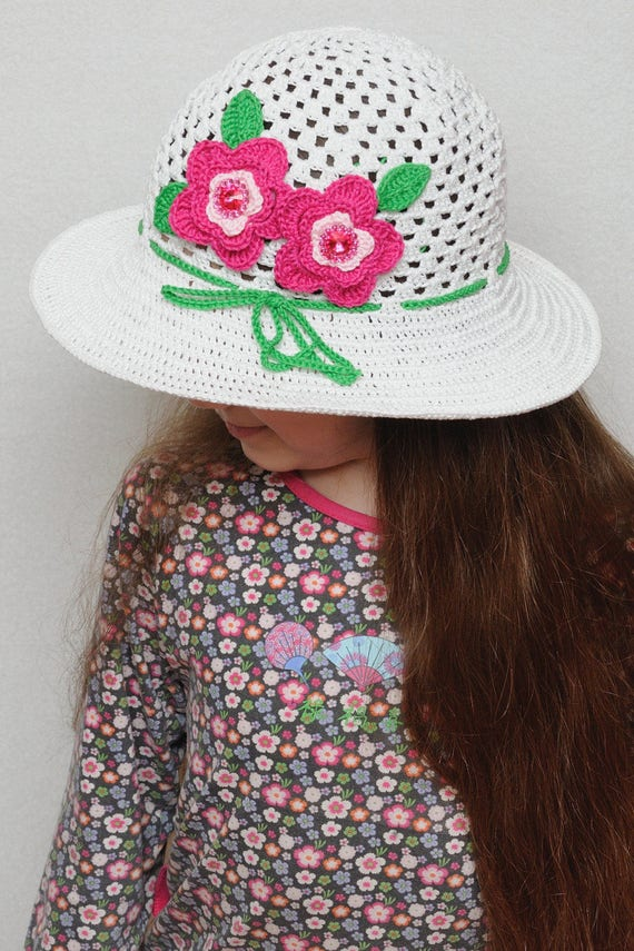 Blumen häkeln Sommer Hut Mädchen Hut Blumen Sommer Sonnenhut | Etsy